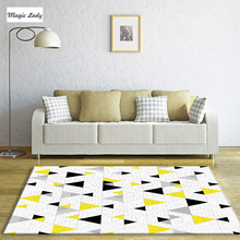 Carpet Geometric Living Room Bedroom Triangles Pentagons Lines Figures Decoration Pattern Shapes Weaves Beige Yellow Black Gray
