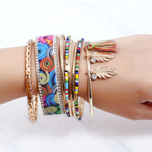 Brand Rhinestone Leaves Crystal Flower Ethnic Multilayer Cuff Chain Link Bracelet Femme Charm Bracelet Women Jewelry Accessories(China)