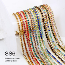 SS6 2MM 1yards/lot Sew On gold Base Crystal Rhinestone Chain DIY  Density Trim Strass Crystal Cup Chains For Dress