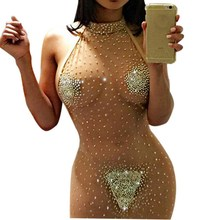 Buy 2017 Backless Elastic Women Short Party Dresses Bodycon Sexy Shiny Dress Halter Neck Night Club Dress Vestido De Festa Curto 5XL for $9.36 in AliExpress store