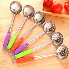 Color Handle Spoon Skimmer Strainer Set Kitchen Cooking Hot Pot Soup Stainless Steel Wall Hanging Long Handle Soup Ladle