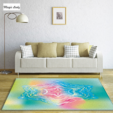 Carpet Living Room Modern Bedroom Pattern Abstract Decoration Lines Shapes Texture Art Pentagons Star Red Blue Pink Green Yellow