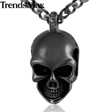 Trendsmax Gold-color Gothic Skull Pendant 316L Stainless Steel Pendant Necklace Jewelry Boys Mens HPM50(Hong Kong)
