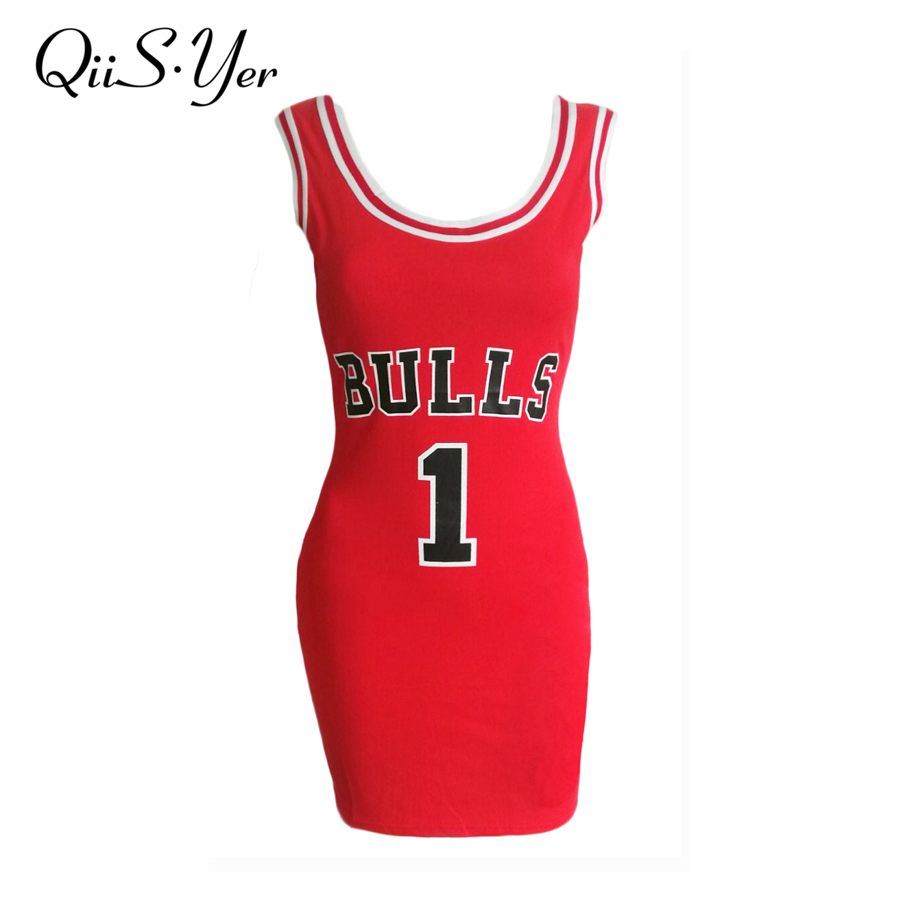 2017 Summer e Bulls Sporting Dress Women Cut Jersey Above Knee Length O-Neck Tunic Dresses Style Vestidos(China)