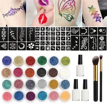 24 Colors Powder Temporary Shimmer Glitter Tattoo Kit 118 Stencils 3 Glue 2 Brushes
