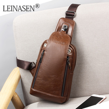 Retro Casual Men's Crossbody Bags Waterproof Top Quality oil wax Leather Chest Pack for Male 2017 Hot Sale Men Messenger Bag(China)