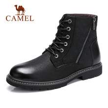 CAMEL Genuine Leather Men Boots Fashion Casual Trend Retro Black/Brown (High) 저 (-탑 Non-slip Outsole Short ankle Boots Man Bota(China)