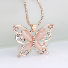 Buy 2017 New Fashion Butterfly Chokers Necklaces Rose Gold Color Crystal Long Pendant Necklace Women Jewelry for $1.09 in AliExpress store