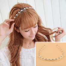 New Summer Style Women Pearls Crystal Rhinestone Headband Wedding Bridal Head Band Hair Accessories Headwear-0028(China)