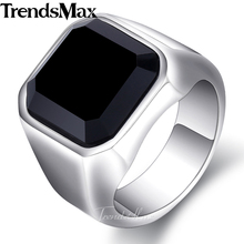 Trendsmax Mens Ring 316L Stainless Steel Gold Silver Engagement Wedding Band Black CZ Jewelry HRM63(Hong Kong)