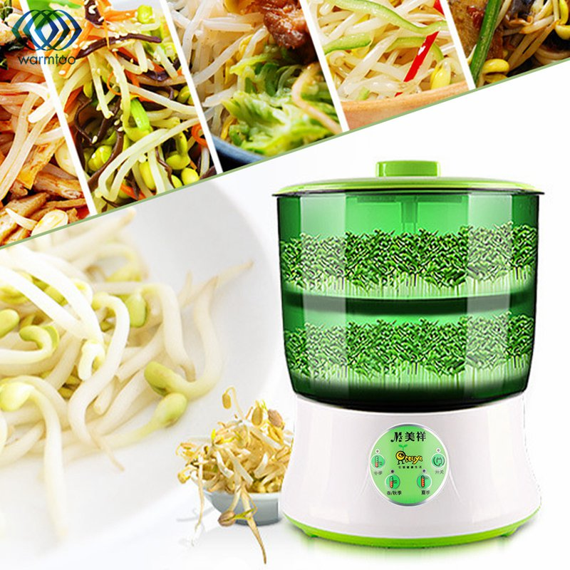 Fully Automatic Bean Sprout Machine Household Double-Deck Thermostat Green Seeds Grow Automatic Bean Sprouts US Plug<br>