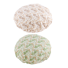 UXCELL Elastic Hem Flower Leaf Print Green Brown Nylon Shower Cap Bath Hat 2 Pcs(China)
