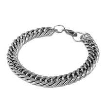 Trendy men Stainless Steel bracelet Overlord Thick Chunky Bicycle Motorcycle Chain Men Titanium Male Geometric Bracelet Square(China)