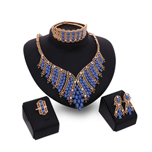 Women's Beads Chain Necklace Ring Earring Bangle KC Gold Plated Jewelry Set