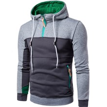2017 New Fashion Color Stitching Hooded Sweatshirt Casual Sporting Hoodies For Man Male Full Zip Up Neck Pullover Hoodie Top 3XL