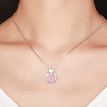 2017 Nature Crystal Furong Stone Necklace Pendants Cute Hello Kitty Jewelry Cat Clavicle Necklace For Women Gift