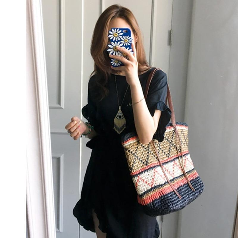 Women Straw Bag Bohemian Female Summer Large Beach Vintage Woven Handbag Lady Shopping Shoulder Bags Travel Casual Tote SS3056 (3)