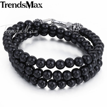 Trendsmax 8mm Buddha Bracelet Mens Jewelry Chain Ball Bead Link Skull 316L Stainless Steel Necklace w/ Black Rhinestones HN72