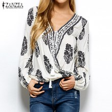 Buy ZANZEA Brand Women Tops 2017 Autumn Vintage Print Blouses Sexy V Neck Long Sleeve Shirts Casual Loose Plus Size Blusas Femininas for $8.39 in AliExpress store
