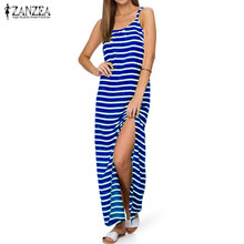 Buy 2017 ZANZEA Women Striped Sleeveless Party Beach Sundress Sexy Summer Female High Split Casual Loose Long Maxi Dress Vestido for $22.23 in AliExpress store