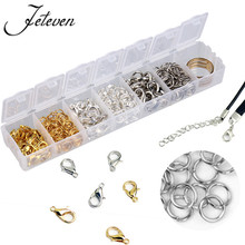 36xpcs/box Jewelry Making Findings Accessories Kit Gold Silver White K Mixed Open Jump Split Rings Lobster Clasp Hook With Box(China)