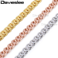 Davieslee 585 Yellow White Rose Gold Filled Necklace Mens Womens Chain Snail Link Wholesale Fashion Jewelry 7mm LGN326(China)