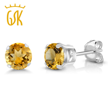 GemStoneKing 0.90 Ct Round 5MM Natural Yellow Citrine Earrings Women 925 Sterling Silver Stud Fine Jewelry - Gem stone king Official Store store