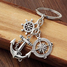 Compass Anchor Rudder Pendant Key Chain Keyring Keyfob Family Friend Gift