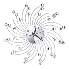 High Quality 3D Metal Wall Clock Diamonds Flower Silent Dazzling Watch Room Home Office Decor(China)