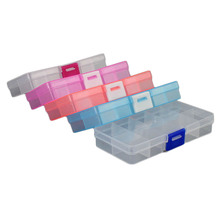1pc 5 Colors 10 Grids Adjustable Jewelry Tool Box Beads Pills Organizer Nail Art Tip Storage Box Case hard transparent Plastic