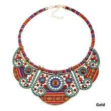 Мода Hand Made Этническая колье Цепочки и ожерелья Биб ожерелье многоцветный Бусины заявление, бохо украшения для Для женщин ювелирные изделия(China)