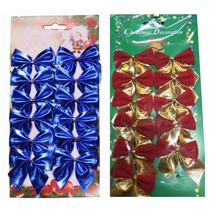 New 12Pcs 5 cm Christmas Tree Decorations Color Bow Bowknot Christmas Decorations for Tree Xmas Noel Ornaments for Home(China)