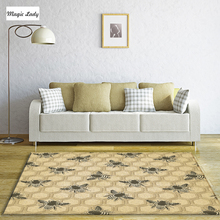Carpet For Living Room Bedroom Abstract Decorations Bees Figures Honeycombs Pentagons Pattern Texture Shapes Lines Yellow Gray