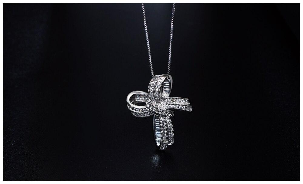 Cross Bowknot necklace SZ12599 (7)