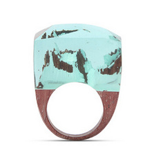 Wedding Brand Resin Secret Wood Rings For Women Magic Forest Wooden Ring Men Jewelry Clear Deep Blue Rectangle Gift