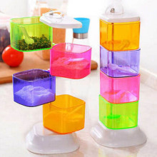 Spice Jar Colorful Four Layers Rotate Seasoning Box Kitchen Spice Storage Bottle Jars Seasoning Bottle Container(China)