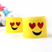 Classic Rainbow Circle Folding Plastic Spring Coil Children's Creative Magical Educational Mini Emoji Toys(China)