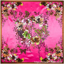Autumn Winter Butterfly and Hand Painted Headband Flower women silk satin 90cm*90cm square scarf(China)