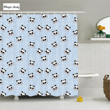 Shower Curtain Animal Print Bathroom Accessories Muzzles Panda Illustration Funny Blue Black White 180*200 cm