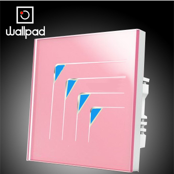 Free Shipping, Wallpad Luxury Pink Crystal Glass Wall Light Switch Panel, 4 Gangs 1 Way Touch Switches,110~250V, Backlight LED<br>