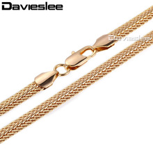 Davieslee Mens Necklace Yellow Rose Gold Filled Chain Snake Bone Curb Snail Link Wholesale Fashion Jewelry LGNM29