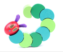 New Cute Insects Hungry Caterpillars Crocodile Children Anime Toys Wooden Blocks Baby Fingers Flexible Blocks(China)