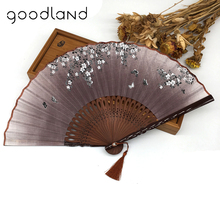 Free Shipping 1pcs Cherry Blossom Folding Hand Flower Wedding Favor Fan(China)