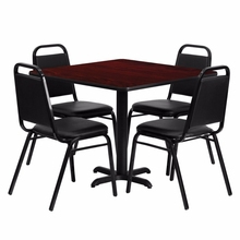Flash Furniture 36'' Square Mahogany Laminate Table Set with Black Trapezoidal Back Banquet Chairs()
