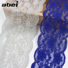 5yds Embroidered Stretch 7.5cm blue Lace Ribbon Polyester Elastic 9.5cm Grey Lace Ribbon Garment Wedding Party Dress Accessories(China)