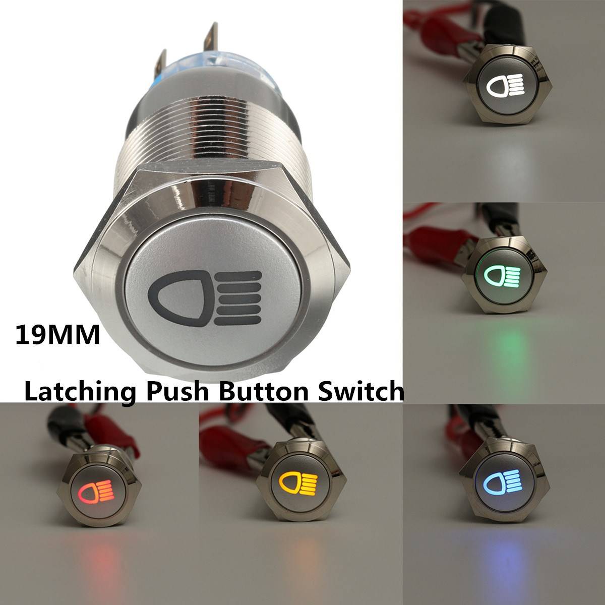 10X self-lockin 16MM Latching push button switch with RED LED lighting 4Pin 3A