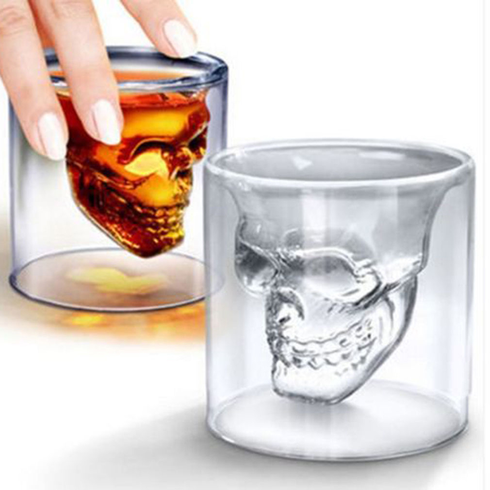 Double Wall Skull Skeleton Whisky Bar wine glasses Glass Cup Crystal Skull Head Vodka Shot Wine Glass 1598 Novelty Cups(China (Mainland))
