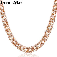 Buy Trendsmax Bismark Hammered Womens Necklace Chain 585 Rose Gold Filled Curb Cuban Rombo Link 5mm 48cm KGN452-GN453 for $3.99 in AliExpress store