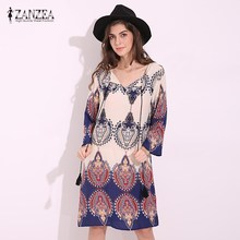 ZANZEA Summer Boho V Neck 3/4 Sleeve Lace Up Womens Sexy Floral Printed Casual Loose Rayon Beach Party Short Mini Shift Dress