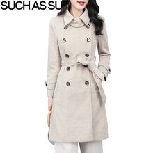722adc21d64 New 2018 Fashion Woolen Coats Womens 5 Color A Line Double Breasted Striped  Fall Winter Long Coats M-3XL Plus Size Coat Female